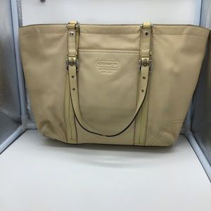 COACH tan leather East West tote L0859-F13098
